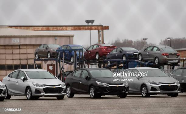 Cars sit outside the GM Lordstown Plant on November 26 2018 in Lordstown Ohio GM said it would end production at five North American plants including...