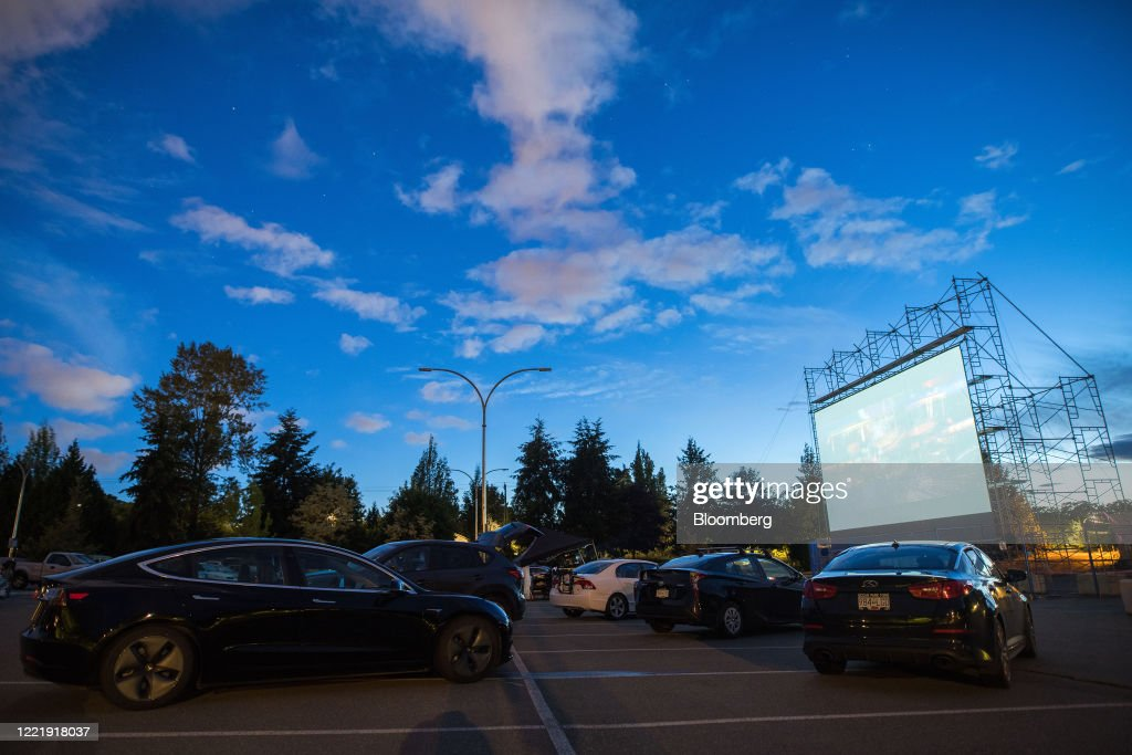 Film Screening At A Drive-In Movie Theater : News Photo
