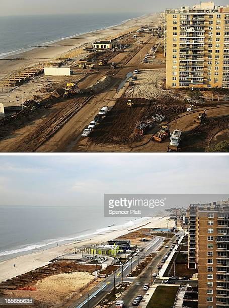 Cars sit parked on the steet October 20 in the Rockaway neighborhood of the Queens borough of New York City. Hurricane Sandy made landfall on October...
