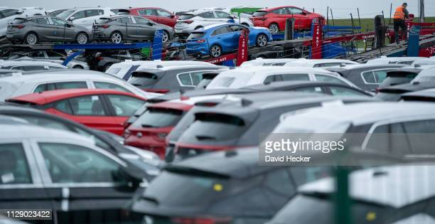 Cars stand at Cuxhaven port prior to loading onto ferries for transport to the United Kingdom on March 7, 2019 in Cuxhaven, Germany. Several...