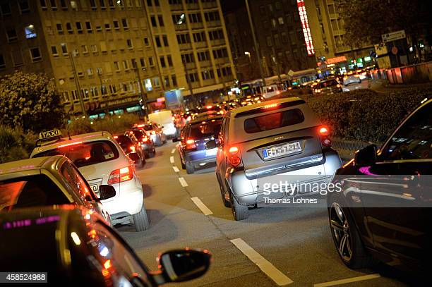 Cars stand in a traffic jam near Hauptbahnhof main railway station during a fourday strike by the GDL train drivers labor union on November 6 2014 in...