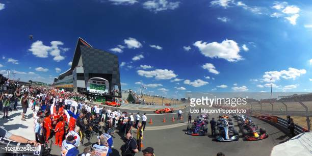 Cars stand in parc ferme in the pit lane after the British F1 Grand Prix at Silverstone Circuit on July 8 2018 in Northampton England