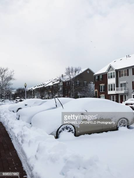 Cars stuck in snow