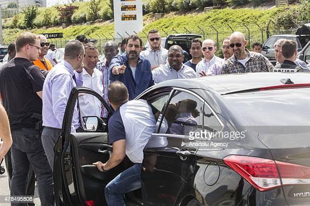 Cars stuck in traffic jam as French cab drivers stage a oneday strike over competition from USbased Uber company which they say threatens their jobs...