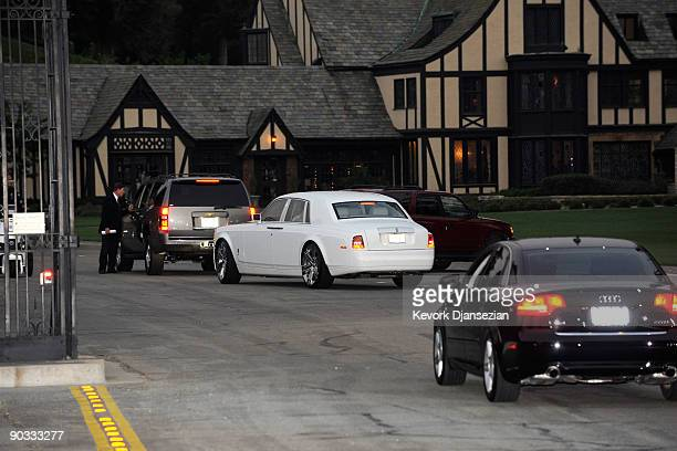 Cars transporting guests arrive at Michael Jackson's funeral service held at Glendale Forest Lawn Memorial Park on September 3 2009 in Glendale...