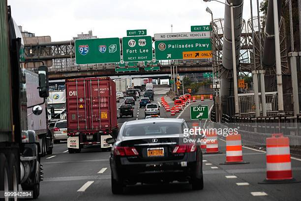 Cars travel across the George Washington Bridge into New Jersey September 7 2016 in Fort Lee New Jersey Jury selection begins on Thursday for the New...