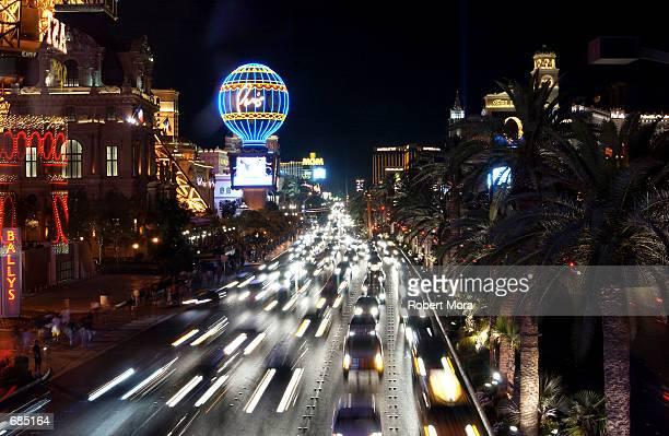 Cars travel down the Las Vegas Boulevard strip on May 30 2002 in Las Vegas Nevada