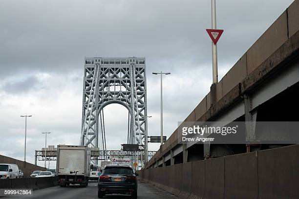Cars travel on the George Washington Bridge September 7 2016 in New York City Jury selection begins on Thursday for the New Jersey 'Bridgegate' trial...
