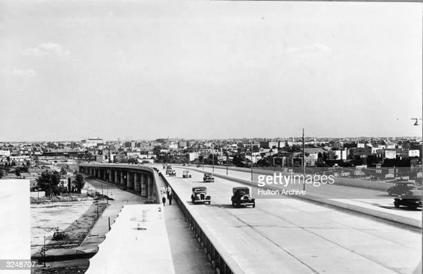 Cars travel on the Triborough Bridge ramp to Astoria Queens New York City