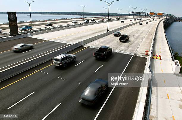 Cars travel over the Woodrow Wilson Bridge on September 4, 2009 in National Harbor, Maryland. The American Automobile Association is projecting that...
