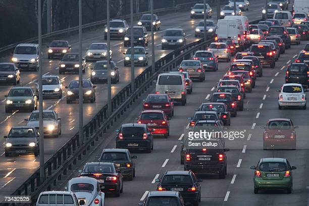 Cars trucks and other traffic clog the A100 ring road at rush hour February 21 2007 in Berlin Germany Auto emissions has become a hot political topic...