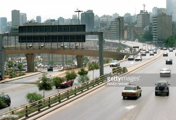 Cars use a new postwar highway in downtown Beirut constructed after Lebanon's 19751990 civil war / AFP PHOTO / RAMZI HAIDAR