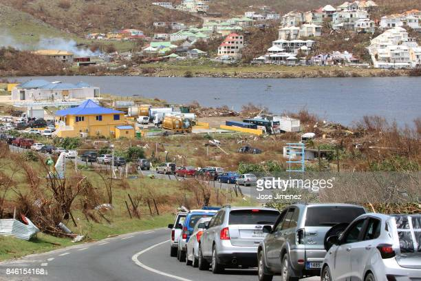 Cars wait in line for gas station at Orient Bay Saint Maarten days after this Caribbean island sustained extensive damage after the passing of...