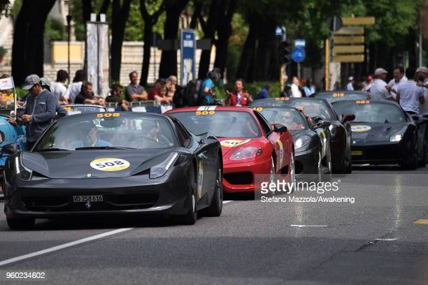 Cars wait to cross the finish line during the last day of the 1000 Miles Historic Road Race during Mille Miglia 2018 on May 19 2018 in Brescia Italy