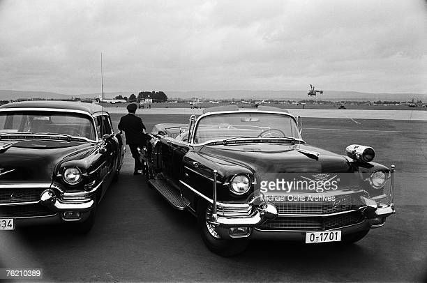 Cars wait to take President John F Kennedy to Rudolph Wilde Platz for his famous 'Ich bin ein Berliner' speech on June 26 in Berlin West Germany