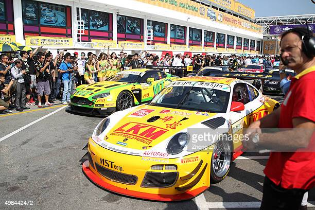 Cars with sponsor Pirelli logo at paddock during the SJM Macau GT Cup-FIA GT World Cup event as part of the 62th Macau Grand Prix on November 22,...