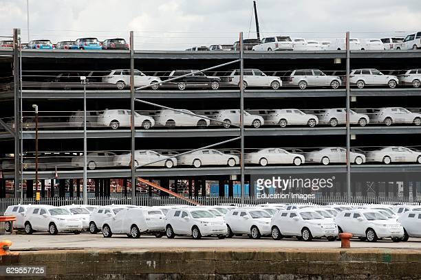 Cars wrapped for protection for export from the UK on the docks at Southampton