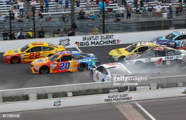 Cars wreck during the Monster Energy NASCAR Cup Series Brickyard 400 at Indianapolis Motorspeedway on July 23 2017 in Indianapolis Indiana