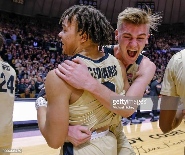 Carsen Edwards and Matt Haarms of the Purdue Boilermakers celebrate after the game against the Michigan State Spartans at Mackey Arena on January 27,...