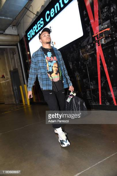 Carsen Edwards of the Boston Celtics arrives prior to a game against the LA Clippers on November 20 2019 at STAPLES Center in Los Angeles California...
