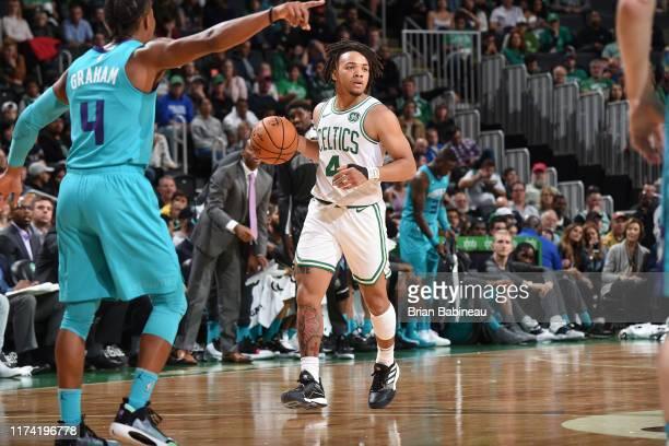 Carsen Edwards of the Boston Celtics dribbles up court against the Charlotte Hornets on October 6 2019 at the TD Garden in Boston Massachusetts NOTE...