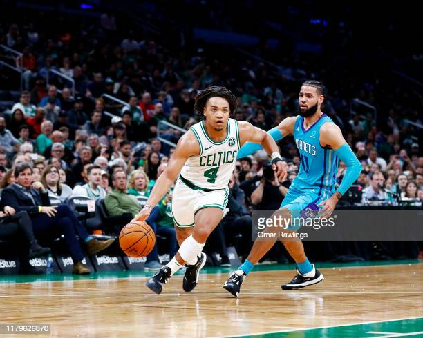 Carsen Edwards of the Boston Celtics drives to the basket during the third quarter of the game against the Charlotte Hornets at TD Garden on October...