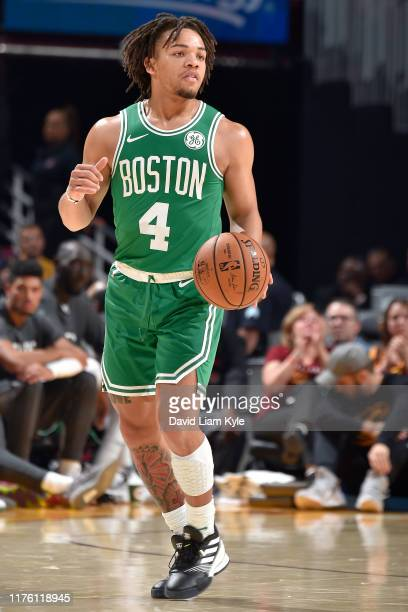 Carsen Edwards of the Boston Celtics handles the ball against the Cleveland Cavaliers during a preseason game on October 15 2019 at Quicken Loans...