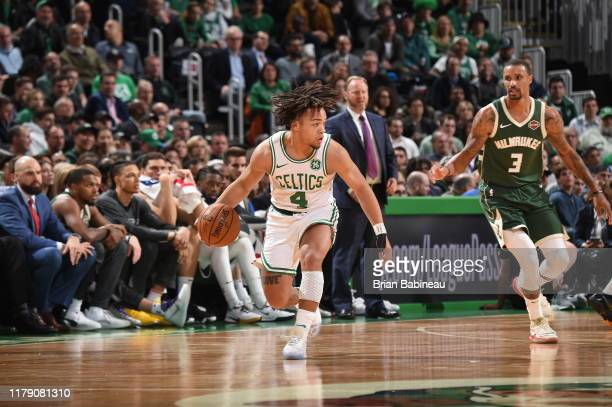 Carsen Edwards of the Boston Celtics handles the ball against the Milwaukee Bucks on October 30 2019 at the TD Garden in Boston Massachusetts NOTE TO...