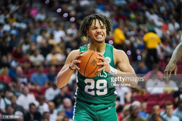 Carsen Edwards of the Boston Celtics holds the ball during a game against the Philadelphia 76ers on July 06 2019 in Las Vegas Nevada