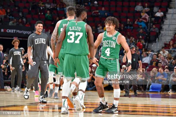Carsen Edwards of the Boston Celtics reacts to a play against the Cleveland Cavaliers during a preseason game on October 15 2019 at Quicken Loans...