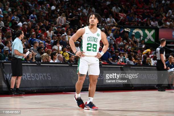 Carsen Edwards of the Boston Celtics seen on the court during the game against the Memphis Grizzlies on July 13 2019 at the Thomas Mack Center in Las...