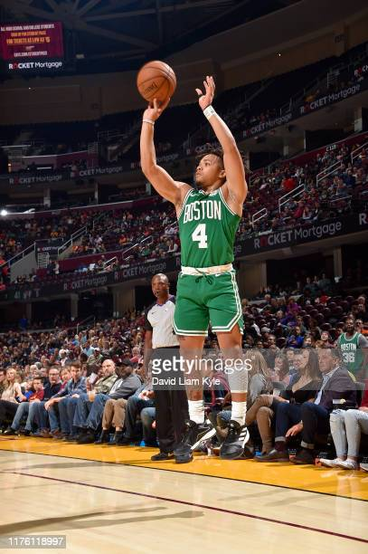 Carsen Edwards of the Boston Celtics shoots the ball against the Cleveland Cavaliers during a preseason game on October 15 2019 at Quicken Loans...