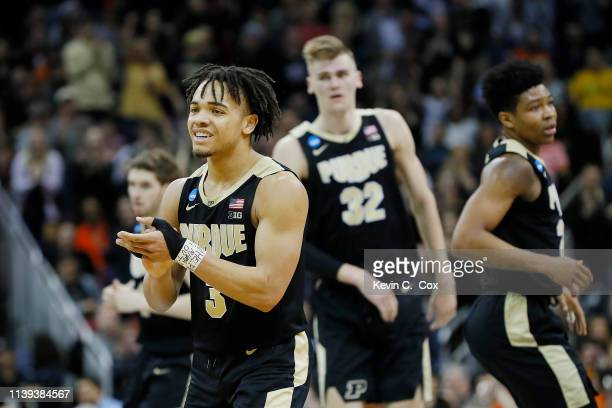 Carsen Edwards of the Purdue Boilermakers celebrates against the Virginia Cavaliers during the second half of the 2019 NCAA Men's Basketball...