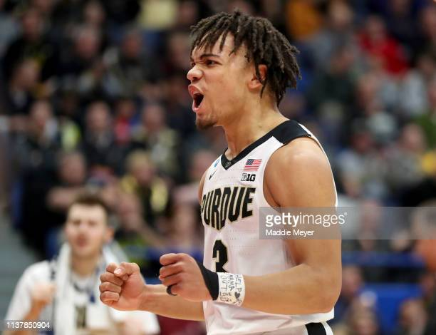 Carsen Edwards of the Purdue Boilermakers celebrates his basket against the Villanova Wildcats in the first half during the second round of the 2019...