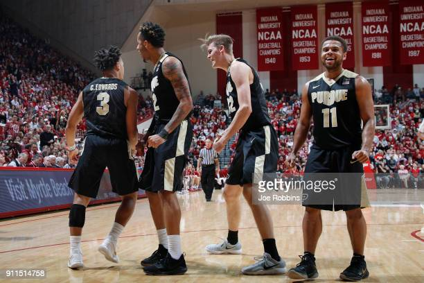 Carsen Edwards of the Purdue Boilermakers celebrates with teammates after a basket against the Indiana Hoosiers in the second half of a game at...