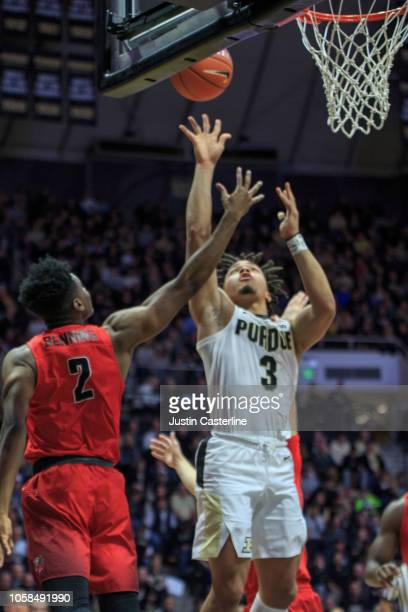 Carsen Edwards of the Purdue Boilermakers goes up for a shot close to the basket in the game against the Fairfield Stags at Mackey Arena on November...