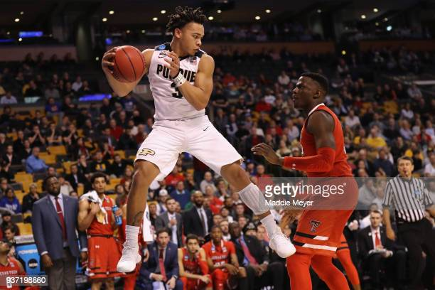 Carsen Edwards of the Purdue Boilermakers handles the ball against Norense Odiase of the Texas Tech Red Raiders during the second half in the 2018...
