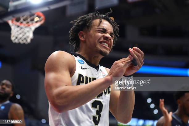 Carsen Edwards of the Purdue Boilermakers reacts after a play in the second half against the Old Dominion Monarchs during the first round of the 2019...