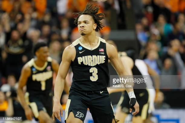Carsen Edwards of the Purdue Boilermakers reacts after a three pointer against the Tennessee Volunteers during the first half of the 2019 NCAA Men's...