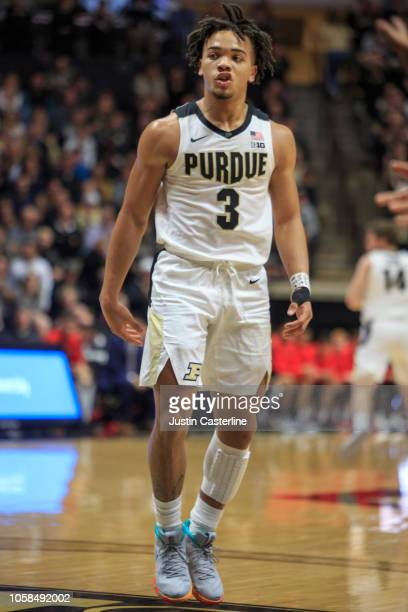Carsen Edwards of the Purdue Boilermakers reacts after scoring a basket in the game against the Fairfield Stags at Mackey Arena on November 6 2018 in...