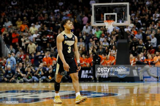 Carsen Edwards of the Purdue Boilermakers reacts after throwing a pass out of bounds in the closing seconds of overtime against the Virginia...