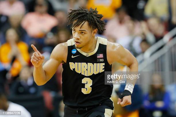 Carsen Edwards of the Purdue Boilermakers reacts against the Tennessee Volunteers during the first half of the 2019 NCAA Men's Basketball Tournament...