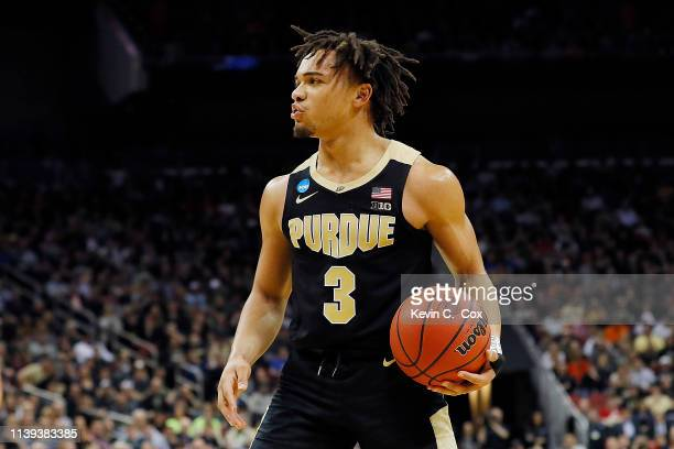 Carsen Edwards of the Purdue Boilermakers reacts against the Virginia Cavaliers during the second half of the 2019 NCAA Men's Basketball Tournament...