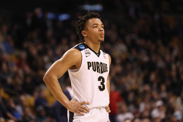 Carsen Edwards of the Purdue Boilermakers reacts during the second half against the Texas Tech Red Raiders in the 2018 NCAA Men's Basketball...