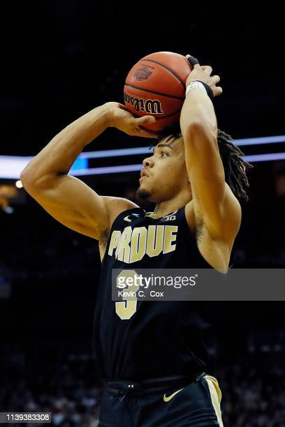 Carsen Edwards of the Purdue Boilermakers shoots a three pointer against the Virginia Cavaliers during the second half of the 2019 NCAA Men's...