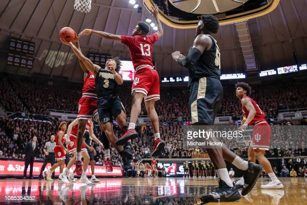 Carsen Edwards of the Purdue Boilermakers shoots the ball against Juwan Morgan of the Indiana Hoosiers during the second half of the game at Mackey...