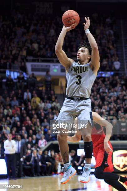 Carsen Edwards of the Purdue Boilermakers takes a jump shot in the game against the Ball State Cardinals at Mackey Arena on November 10 2018 in West...