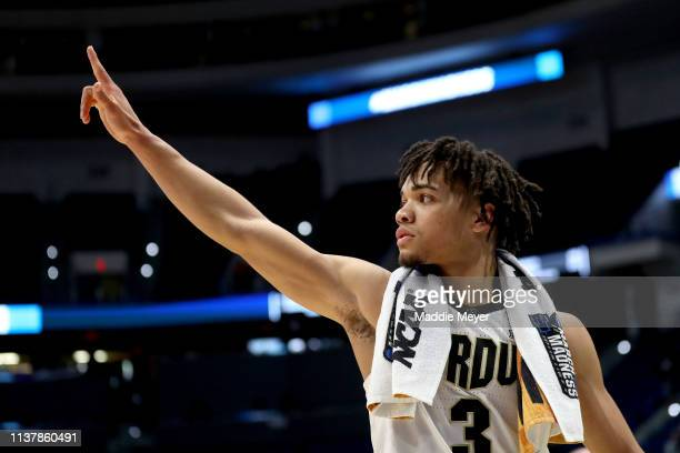 Carsen Edwards of the Purdue Boilermakers waves to the fans after his teams win over the Villanova Wildcats during the second round of the 2019 NCAA...