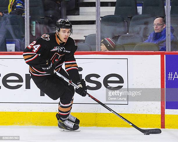 Carsen Twarynski of the Calgary Hitmen in action against the Kootenay Ice during a WHL game at Scotiabank Saddledome on December 18, 2016 in Calgary,...