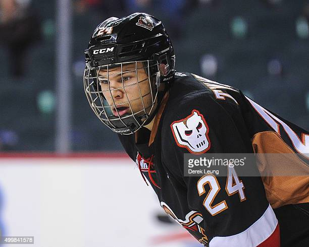 Carsen Twarynski of the Calgary Hitmen skates against the Prince Albert Raiders during a WHL game at Scotiabank Saddledome on December 3, 2015 in...